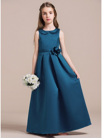 A-Line/Princess Scoop Neck Floor-Length Satin Junior Bridesmaid Dress With Beading Flower(s)