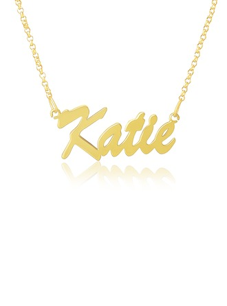 Custom 18k Gold Plated Nameplate Name Necklace