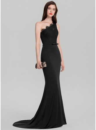 Trumpet/Mermaid One-Shoulder Sweep Train Jersey Evening Dress