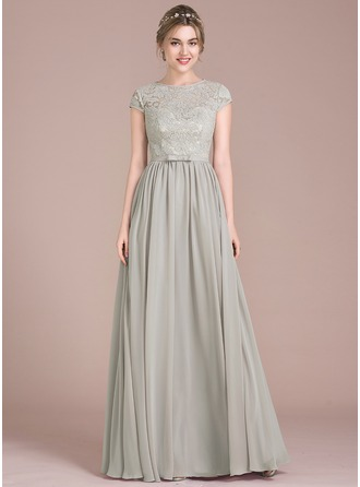 Scoop Neck Floor-Length Chiffon Lace Prom Dresses With Bow(s)