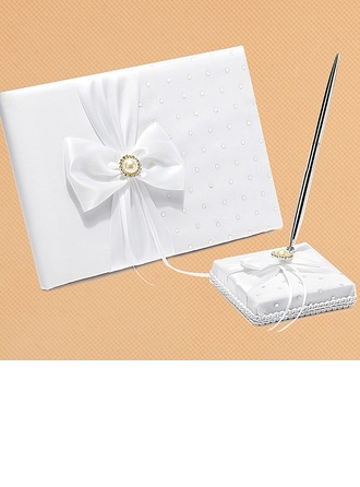 White Bow Sequin/Sash Guestbook & Pen Set