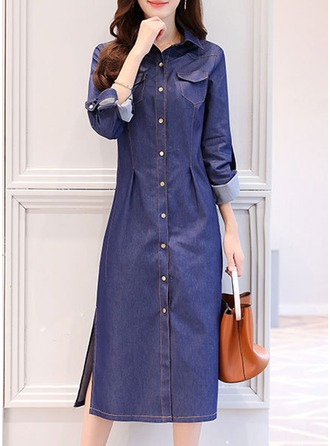 Denim With Stitching Midi Dress