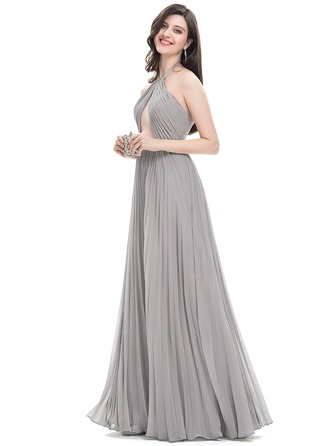 A-Line/Princess Halter Floor-Length Chiffon Evening Dress With Pleated