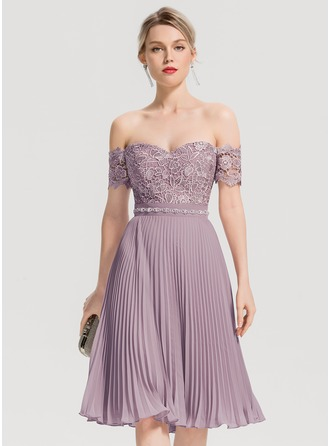 Off-the-Shoulder Knee-Length Chiffon Cocktail Dress With Beading Pleated
