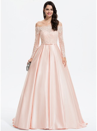 Off-the-Shoulder Sweep Train Satin Prom Dresses