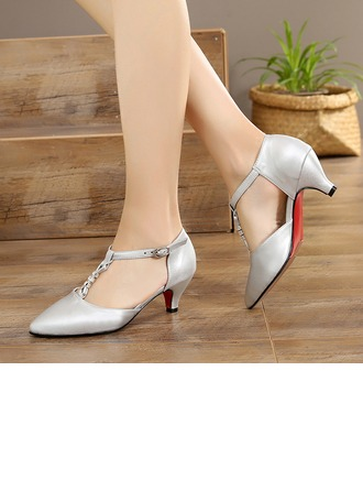Women's Real Leather Heels Ballroom With T-Strap Dance Shoes