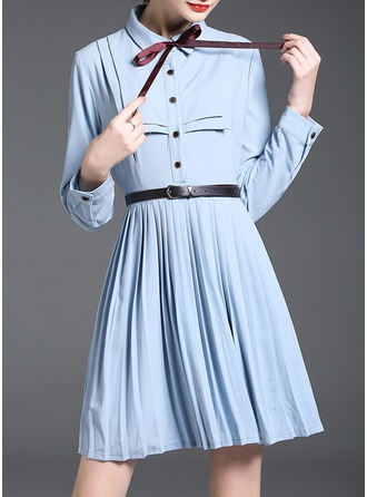 Polyester With Bowknot/Stitching/Crumple Above Knee Dress