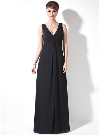 V-neck Floor-Length Chiffon Mother of the Bride Dress