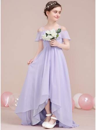 Off-the-Shoulder Asymmetrical Chiffon Junior Bridesmaid Dress With Cascading Ruffles