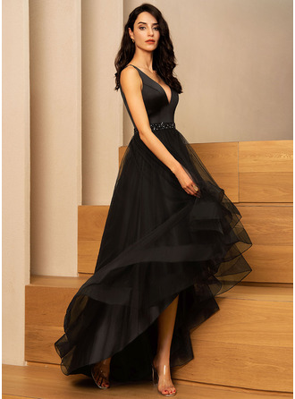Black V-Neck Sleeveless A-line Dresses