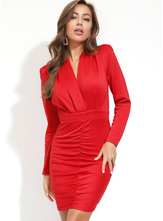 Polyester With Crumple/Solid Above Knee Dress