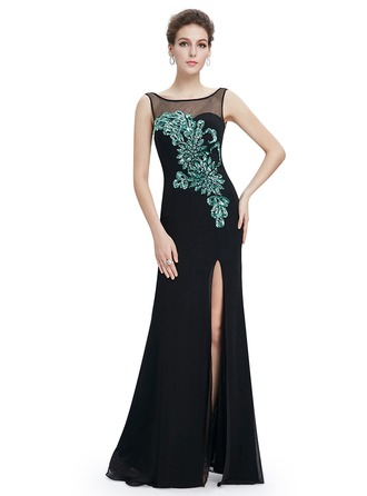 Satin/Silk Blend With Sequins/Applique Maxi Dress