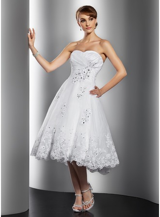 Sweetheart Knee-Length Organza Wedding Dress With Ruffle Beading Appliques Lace Sequins