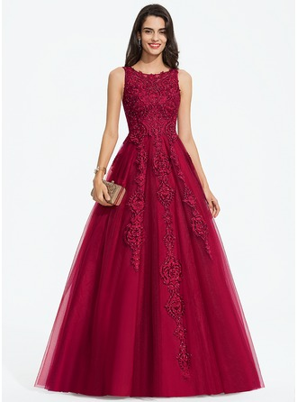 Ball-Gown/Princess Scoop Neck Floor-Length Tulle Prom Dresses With Beading