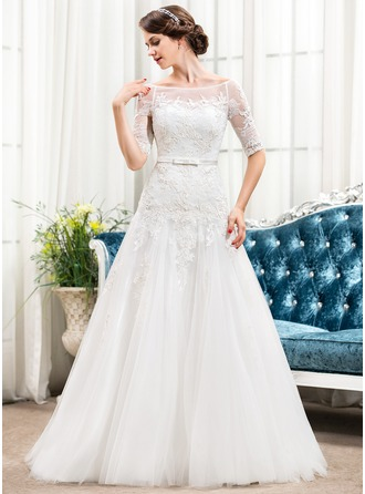 A-Line/Princess Off-the-Shoulder Sweep Train Tulle Lace Wedding Dress With Bow(s)