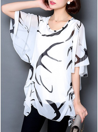 Print 1/2 Sleeves Chiffon Round Neck Casual Blouses Blouses