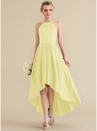 A-Line/Princess Scoop Neck Asymmetrical Satin Bridesmaid Dress With Ruffle