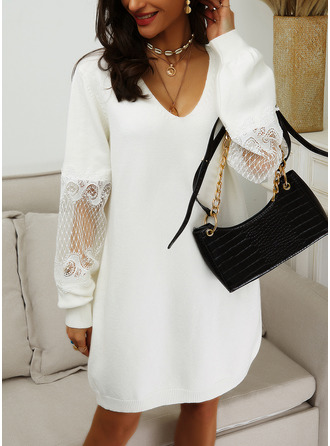 Lace Solid V-Neck Long Sleeves Casual Long Sweater Dress Dresses