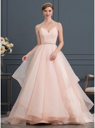 Sweetheart Court Train Organza Wedding Dress With Ruffle Beading