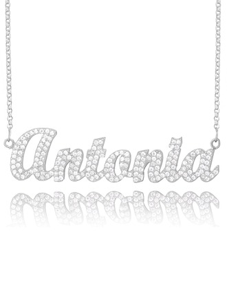 [Free Shipping]Custom Sterling Silver Name Necklace With Diamond (288213035)