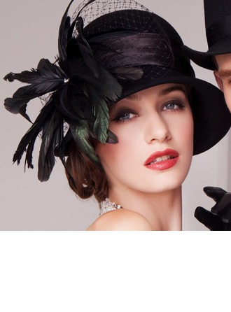 Dames Glamour Coton/Fil net avec Feather Chapeau melon / Chapeau cloche/Kentucky Derby Des Chapeaux