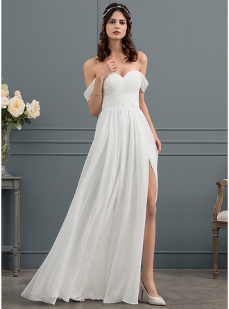Off-the-Shoulder Floor-Length Chiffon Wedding Dress With Ruffle Split Front
