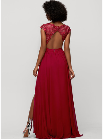 V-neck Floor-Length Chiffon Evening Dress With Sequins Split Front