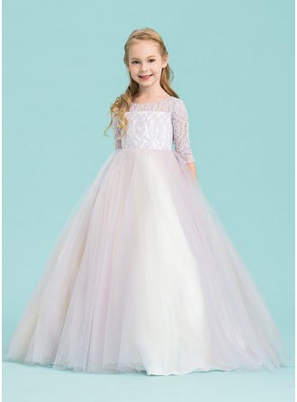 Floor-length Flower Girl Dress - Tulle Lace 1/2 Sleeves Scoop Neck