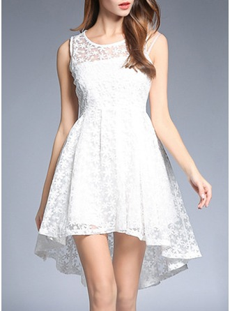 Organza With Lace/Embroidery/Crumple/See-through Look Asymmetrical Dress