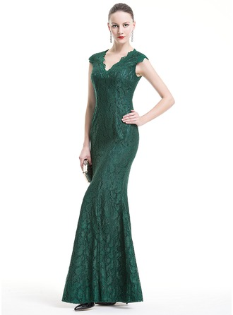 Trumpet/Mermaid V-neck Floor-Length Lace Evening Dress