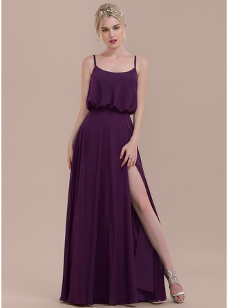 Square Neckline Floor-Length Chiffon Bridesmaid Dress With Split Front