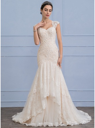 Trumpet/Mermaid Sweep Train Tulle Lace Wedding Dress With Beading Sequins