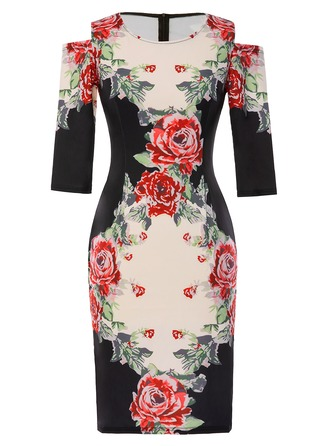Polyester/Spandex With Print Knee Length Dress
