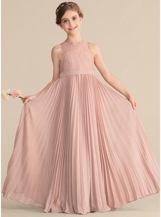 Scoop Neck Floor-Length Chiffon Lace Junior Bridesmaid Dress With Pleated
