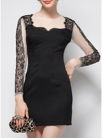 Polyester With Lace/Stitching/See-through Look Above Knee Dress