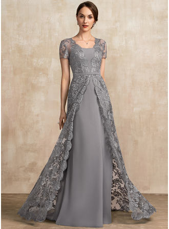 Square Neckline Sweep Train Chiffon Lace Mother of the Bride Dress