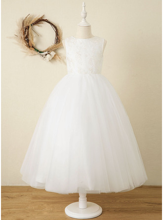 Ankle-length Flower Girl Dress - Satin Tulle Lace Sleeveless Scoop Neck With Bow(s)