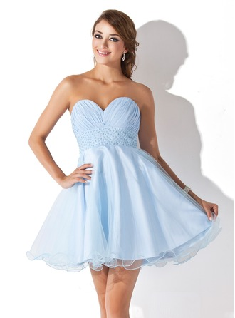 Empire Sweetheart Short/Mini Chiffon Tulle Homecoming Dress With Ruffle Beading Sequins