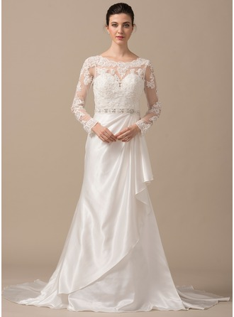 Trumpet/Mermaid Scoop Neck Sweep Train Charmeuse Lace Wedding Dress With Beading Cascading Ruffles