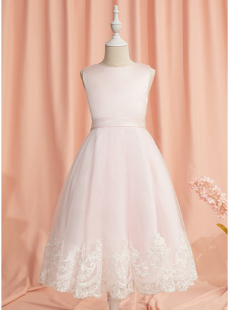 Ball-Gown/Princess Tea-length Flower Girl Dress - Satin/Tulle Sleeveless Scoop Neck With Lace/Bow(s)