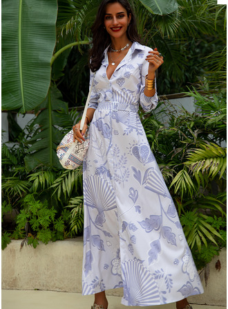 Print Shirt collar Long Sleeves Maxi Dresses