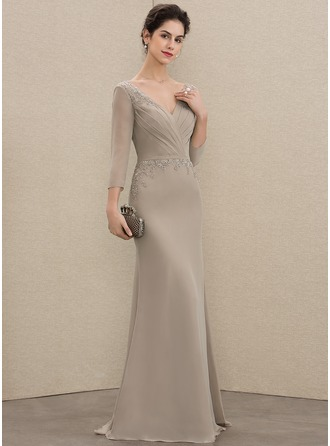 V-neck Floor-Length Chiffon Mother of the Bride Dress With Ruffle Beading Sequins