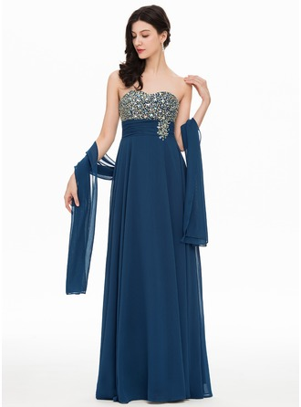 Sweetheart Floor-Length Chiffon Evening Dress With Beading
