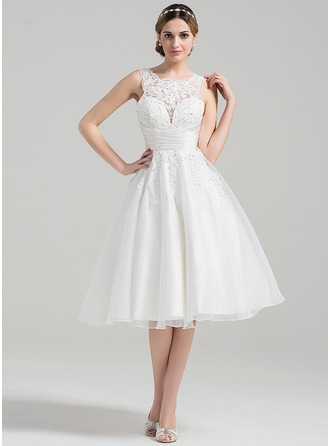 Scoop Neck Knee-Length Organza Wedding Dress With Ruffle Beading Appliques Lace Sequins
