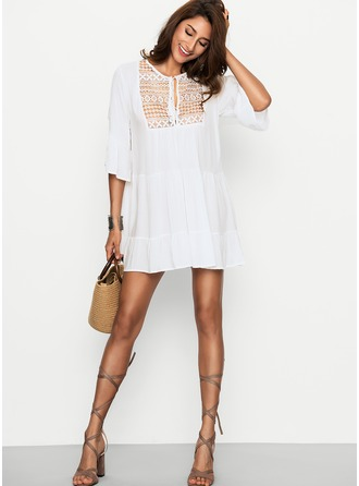 Cotton With Lace Above Knee Dress