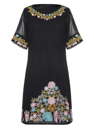 Chiffon With Embroidery Knee Length Dress