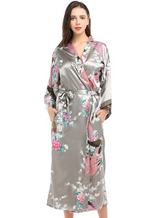 Bride Bridesmaid Satin With Ankle-Length Floral Robes