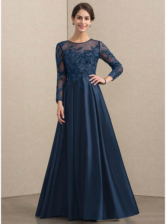 Scoop Neck Floor-Length Satin Lace Evening Dress With Beading