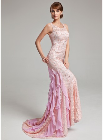 Trumpet/Mermaid Scoop Neck Sweep Train Lace Evening Dress With Beading Cascading Ruffles