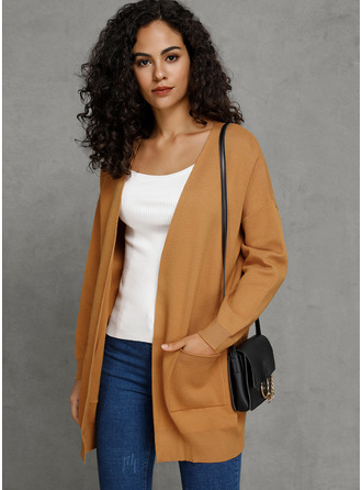 Couleur Unie Poches Polyester Cardigans Pulls